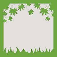 Frame of green leaves and green natural abstract background. paper art.