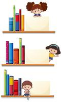 Flat children and blank paper template vector