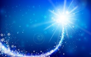 De wintersneeuwvlok die met schitteren vallen en over blauwe abstracte achtergrond voor de winter en Kerstmis met exemplaar ruimte en vectorillustratie 002 aansteken