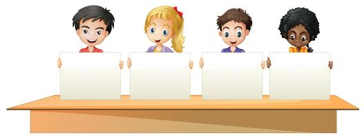 Boys and girls holding white papers vector
