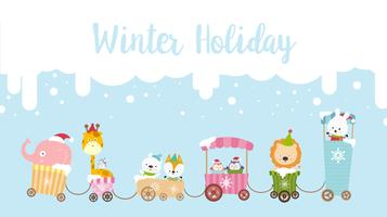 Winter holiday calligraphy text with animal cartoon 001 vector