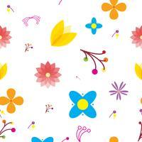 Patrón sin fisuras de multi flores y fondo multicolor. Para fondo de pantalla, sitio web, plantilla y otro diseño. Ilustración de vector EPS10.