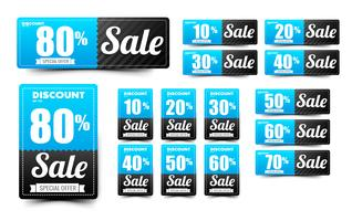Sale text on blue tag banner set 007 vector