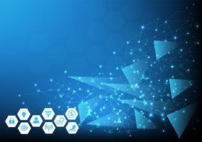 Fondo de redes tecnológicas para negocios y marketing online. Ilustración vectorial