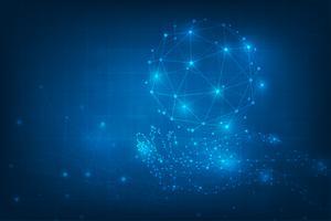 Fondo abstracto de la tecnología. Manos geométricas sosteniendo el globo. Conexiones de red global con puntos y líneas. Tecnología digital del mundo de la información empresarial. Interfaz gráfica virtual azul futurista.