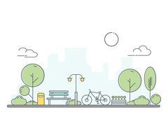 Parc municipal et banc en bois. Illustration de style art fine ligne. Parc public urbain vert.