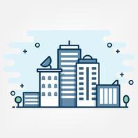 Estilo de arte de línea plana. Diseño de banner de sitio web de tema de idea de paisaje urbano.