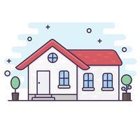 Linea artistica. Fondo di vettore di ilustration della Camera. concetto di casa.