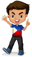 Philippine boy greeting and smiling vector