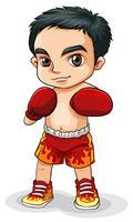 Un boxeador asiático vector