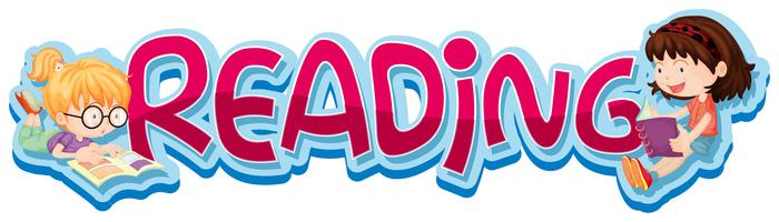 Klistermärke design för ordläsning med två barn läser bok