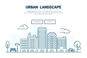 Edificio del paisaje en concepto de la ciudad. Diseño para el sitio web de la página de destino del tema urbano urbano Thine Line art.