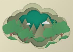 Wald- und Gebirgsvektorhintergründe. Naturlandschaft in Papierflamme. Papierkunst und Handwerksstil.