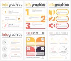 Sats av företagsinfografiska mallar med 3-4 steg, processer eller alternativ. Abstrakt modern infografisk.