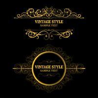 Weinlese-Dekorations-Elemente und Rahmen-Goldfarbe