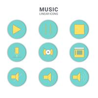Music icons. Line art ilustration vector symbol.