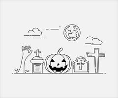 Flache Linie Kunststil. Design für Halloween. Website und Banner.