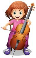 Mädchen, das Cello auf dem Stuhl spielt