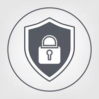 Sköld med hänglås ikoner platt design stil. säkerhetskoncept.