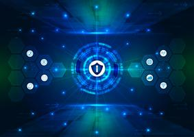 Veiligheidsconcept, Gesloten Hangslot op digitaal, cyberveiligheid, blauwe abstracte hallo de technologie van snelheidsinternet vectorillustratie als achtergrond.