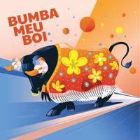 Illustration Aggressiv tjur med kläd och attribut eller Bumba Meu Boi