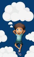Glad pojke på himlen bakgrund
