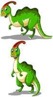 Green parasaurolophus standing and bending down