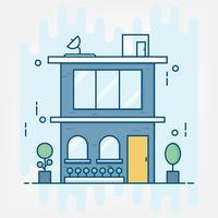 Stile arte linea piatta. design per banner di sito Web tema idea di business building.