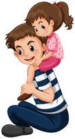 Fader ger liten tjej piggy back ride