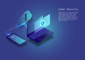 Flat isometric digital cyber security concept  technology vector background