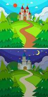 Escenas con castillos en el bosque día y noche.