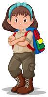 En brunett tjej scout karaktär