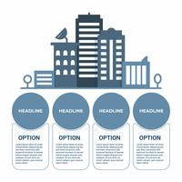 Business infographic. Infographics diagram with cityscape building tower. template for presentation.