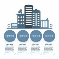 Infografica di affari Diagramma di infographics con la torre della costruzione di paesaggio urbano. modello per la presentazione.