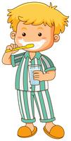 Little boy brushing teeth