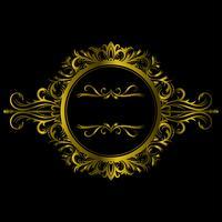 Goldfarbweinlese-Dekorations-Elemente und Rahmen. Vektor-illustration