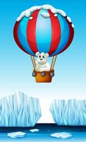 Polar bear riding in the balloon