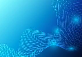 Blaue Farbe bewegt Partikel wellenartig und geometrisches abstraktes Hintergrunddesign. Vektor-Illustration