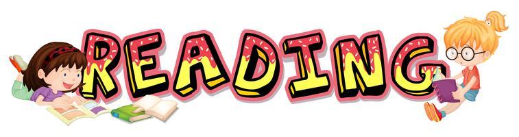 Wortdesign für das Ablesen mit zwei Mädchenlesebüchern