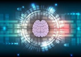 La tecnología digital y el cerebro resumen de antecedentes. Ilustración vectorial