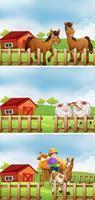 Granja de animales y granjero en la granja.