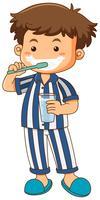 Menino, em, pijama, dentes escovando