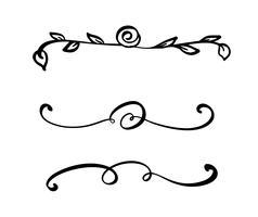 Colección de separadores o bordes hechos a mano con pincel y tinta. Remolinos únicos para su diseño de libro, álbum de boda hecho a mano. Ilustración vectorial