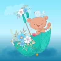 Urso bonito do cartaz do cartão e um pássaro em um guarda-chuva com as flores no estilo dos desenhos animados. Desenho à mão.