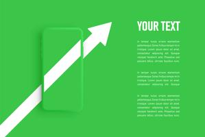 Green matte smartphone template, vector illustration