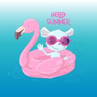 Illustration of a greeting card or a princess for a children s room - a cute maus on an inflatable circle in the form of a flamingos, vector illustration in cartoon style