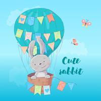 Cartel de postal de un lindo conejo en un globo con banderas en estilo de dibujos animados. Dibujo a mano.