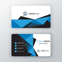 blue polygonal editable business card