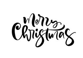 Merry Christmas calligraphic hand drawn lettering text. Vector illustration Xmas calligraphy on white background. Isolated element for banner postcard, poster design greeting card