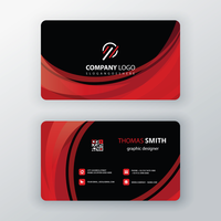 red waves vector business card template